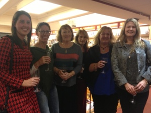 Former Justwriters at the launch of Betrothed. L to R: Krystina Hill, pamela Cook, Sharon Ketelaar, Perla del Pozo, Wanda Wiltshire, Kerry Rogerson.