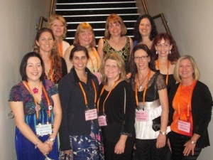 Rural Fiction Writers At the RWA Conference 2013. L to R. back row:  Fiona Palmer, Jennie jones, Jennifer Scoullar, Margareta Osborn, Loretta Hill, Alissa Callen Front: Rachael Johns, Charlotte Nash, Cathryn Hein, myself, Helene Young