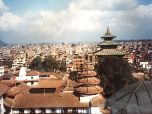 A photo I took in 1991, the view from the Old Palace in Kathmandu. So much of this would now be destroyed.